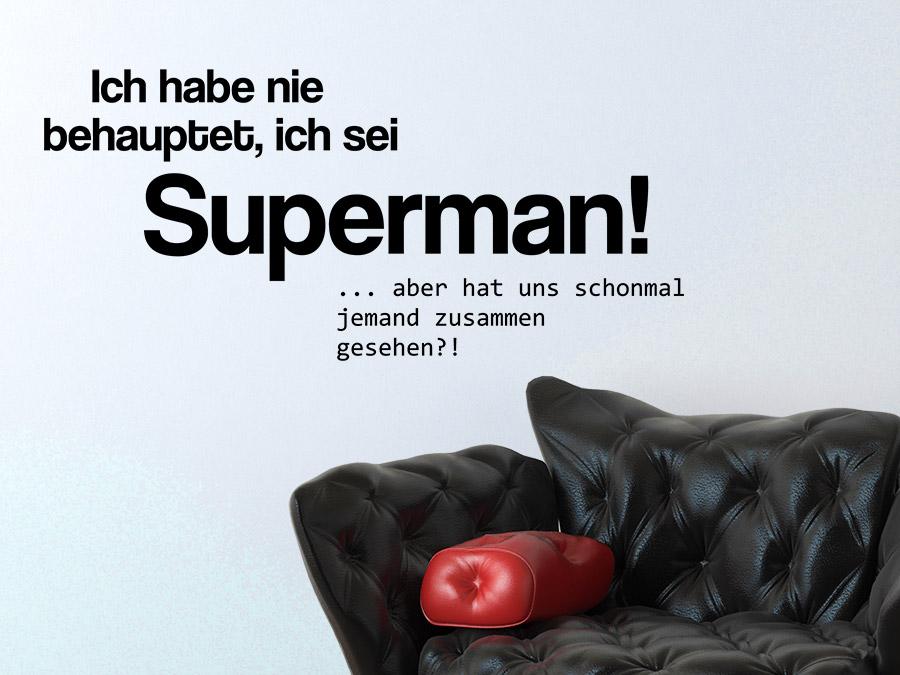 ... Lustiger Wandtattoo Spruch Superman In Schwarz