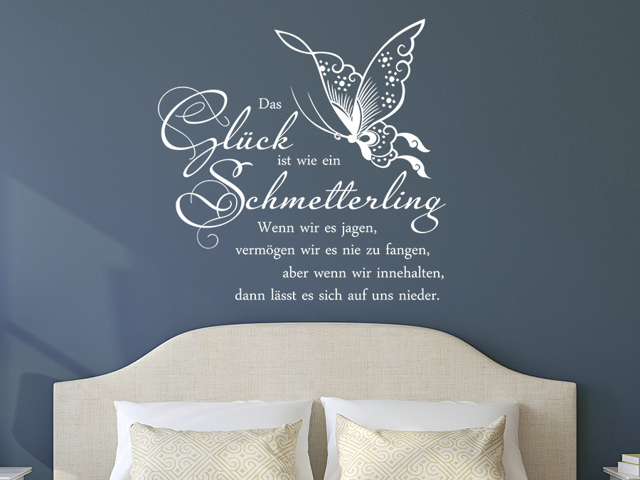 wandtattoo gl ck ist wie ein schmetterling wandtattoo de. Black Bedroom Furniture Sets. Home Design Ideas