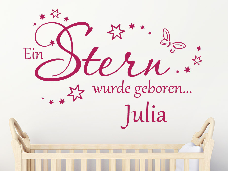 Wandtattoo ein stern wurde geboren mit namen - Babyzimmer julia ...