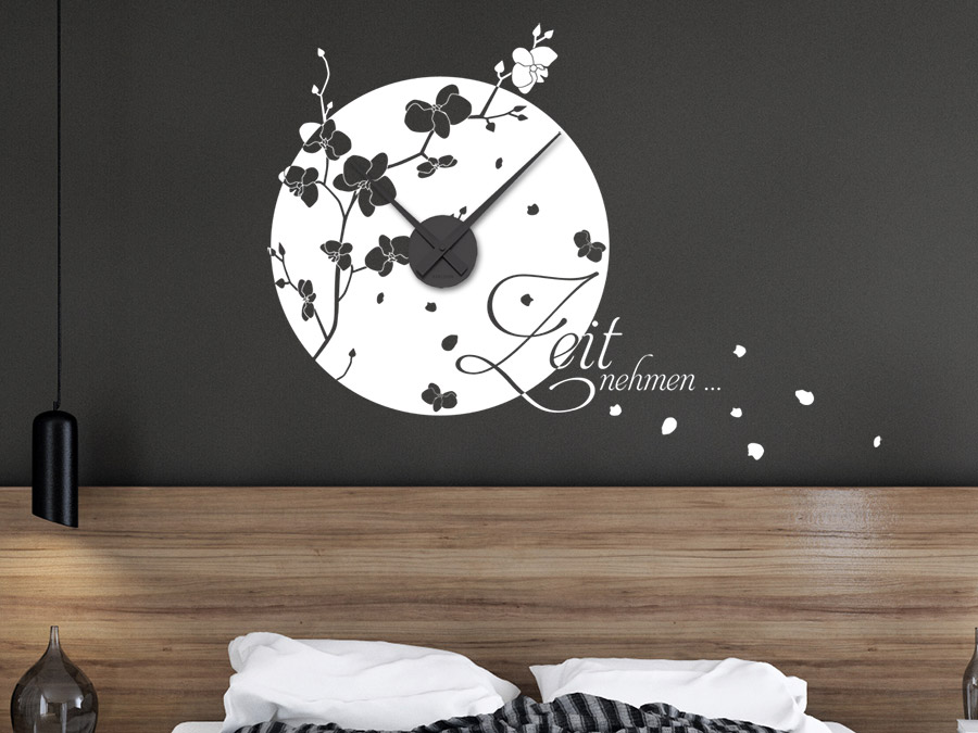 wandtattoo uhr zeit nehmen bei. Black Bedroom Furniture Sets. Home Design Ideas