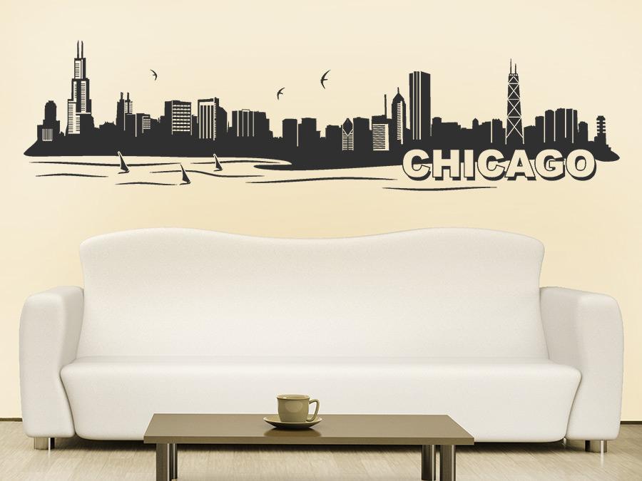 wandtattoo chicago skyline silhouette wandtattoo de. Black Bedroom Furniture Sets. Home Design Ideas