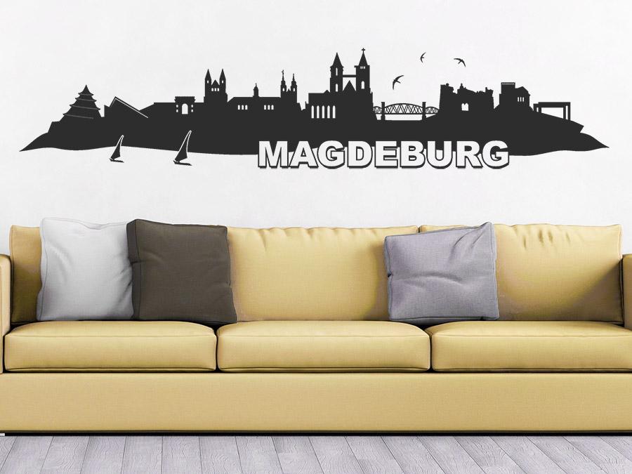 wandtattoo skyline magdeburg bei. Black Bedroom Furniture Sets. Home Design Ideas