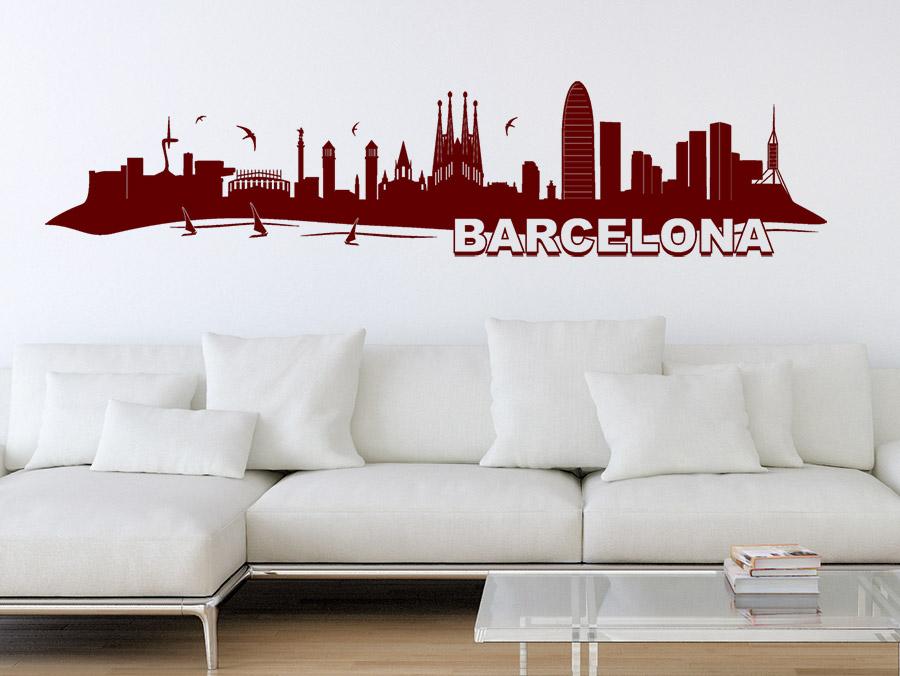 wandtattoo skyline barcelona bei. Black Bedroom Furniture Sets. Home Design Ideas
