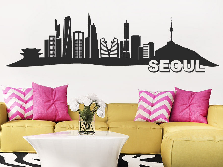wandtattoo seoul skyline wandtattoo de. Black Bedroom Furniture Sets. Home Design Ideas