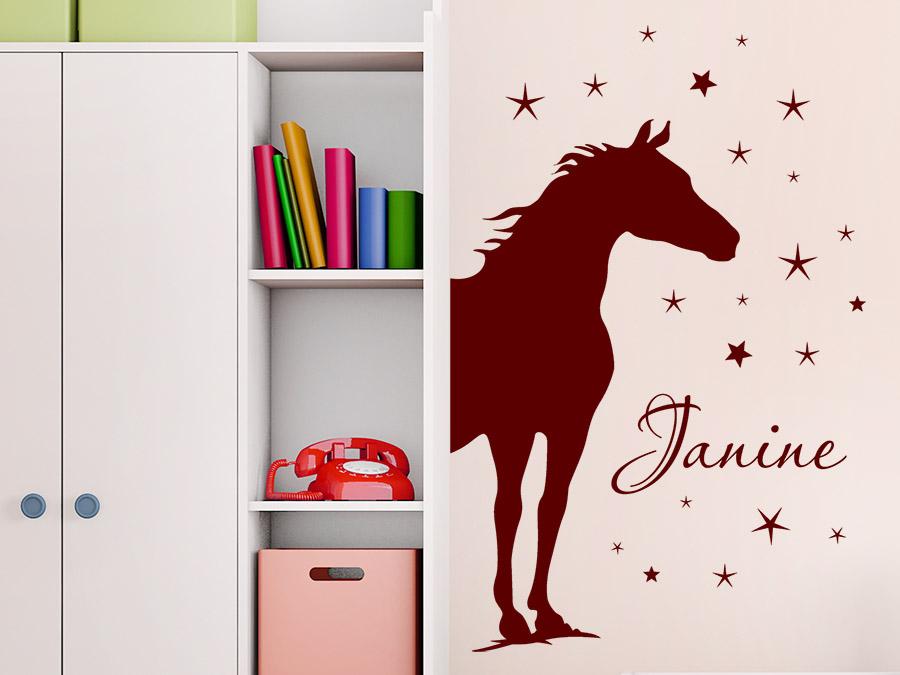 wandtattoo pferde silhouette mit name und sternen wandtattoo de. Black Bedroom Furniture Sets. Home Design Ideas