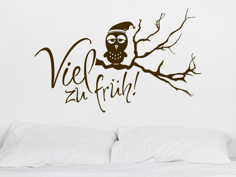 wandtattoo viel zu fr h mit m dem vogel wandtattoo de. Black Bedroom Furniture Sets. Home Design Ideas