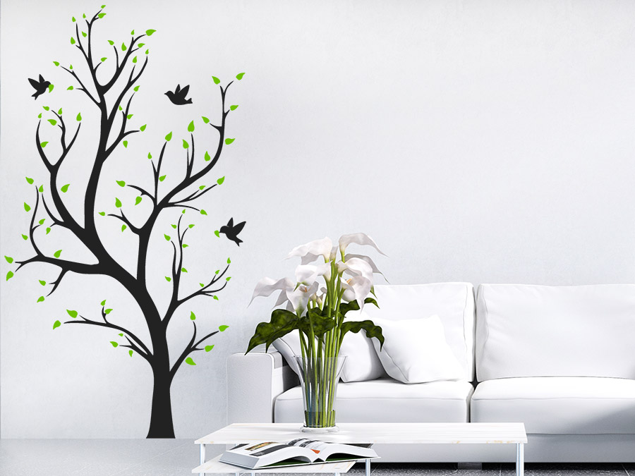 wandtattoo zweifarbiger baum wandtattoo de. Black Bedroom Furniture Sets. Home Design Ideas