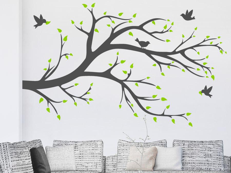 wandtattoo ast bl tter v gel in 2 farben bei. Black Bedroom Furniture Sets. Home Design Ideas