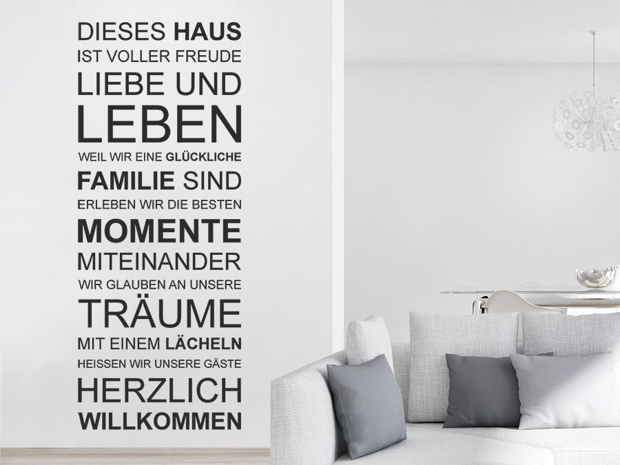 Wandtattoo Dieses Haus ist voller Freude... | WANDTATTOO.DE