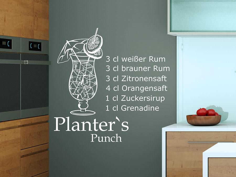 Wandtattoo Planter's Punch tailrezepte   WANDTATTOO.DE on