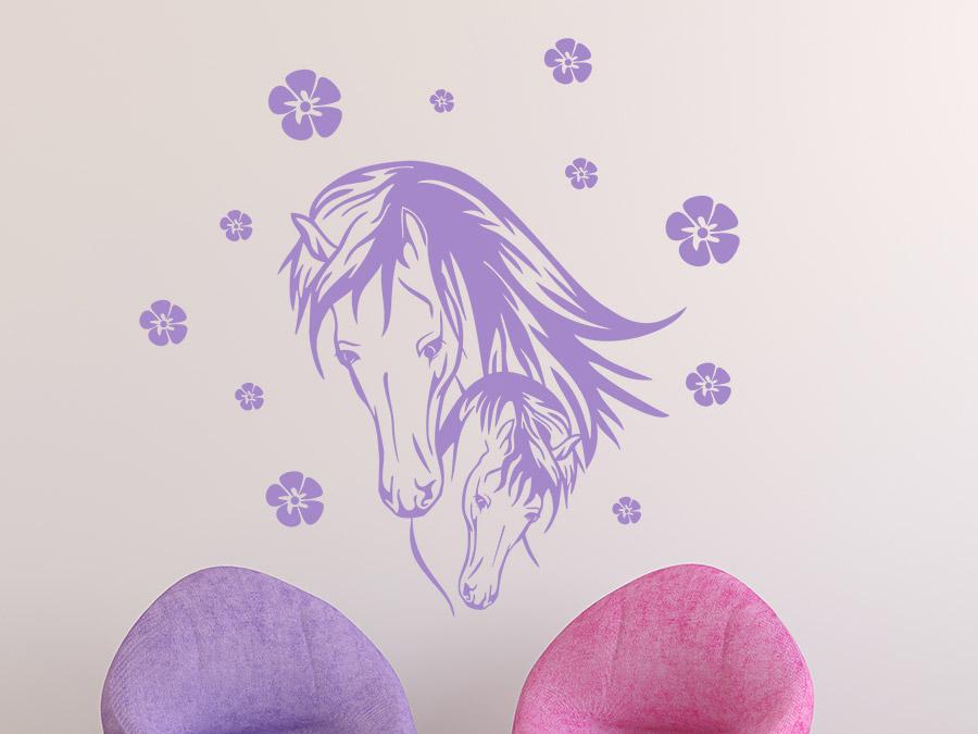 Wandtattoo Pferd mit Fohlen und Blüten | Wandtattoos.de