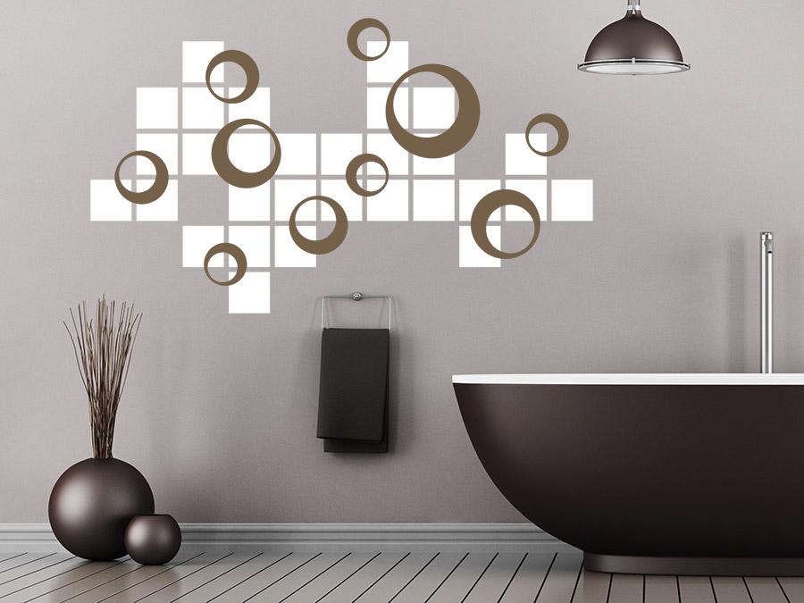wandtattoo retro kreise mit quadraten wandtattoo de. Black Bedroom Furniture Sets. Home Design Ideas