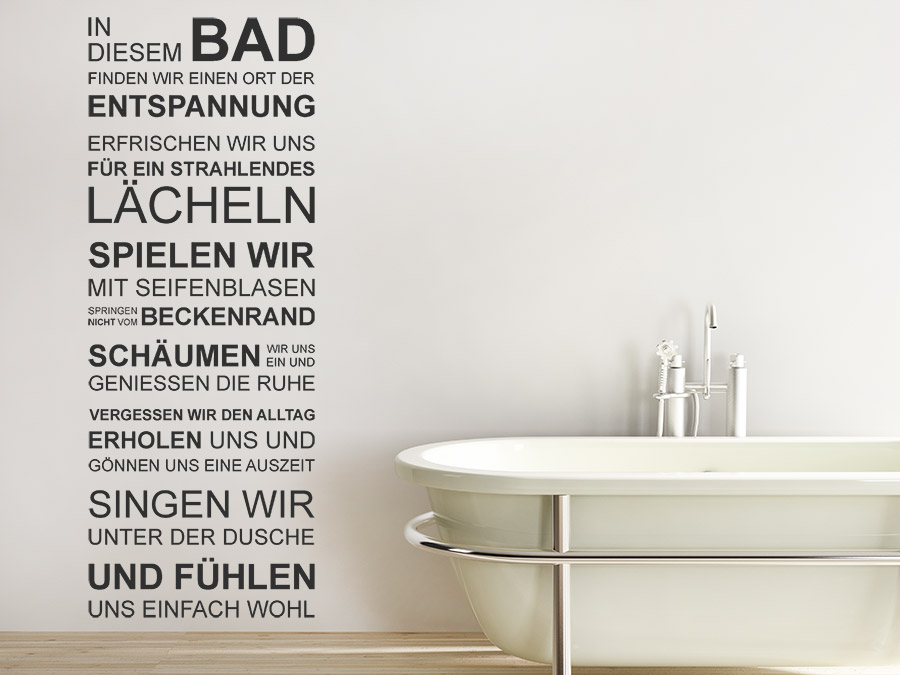 wandtattoo bad spruchbanner. Black Bedroom Furniture Sets. Home Design Ideas