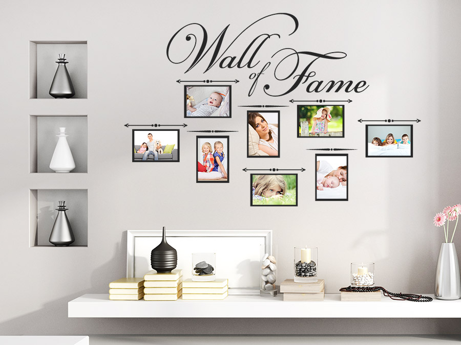 wandtattoo wall of fame mit fotorahmen wandtattoo de. Black Bedroom Furniture Sets. Home Design Ideas