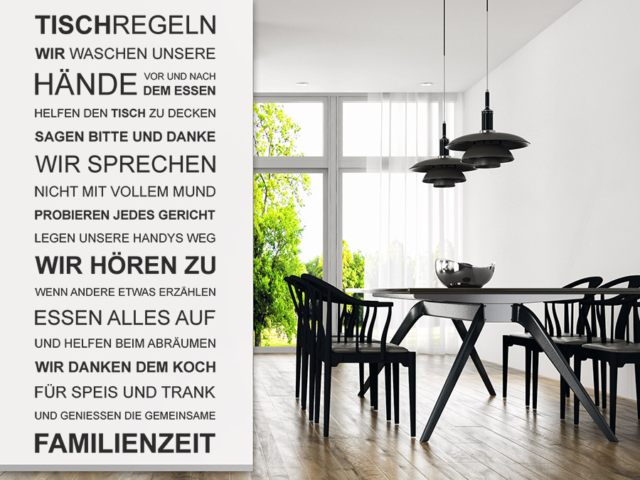 wandtattoo tischregeln spruchbanner wandtattoo de. Black Bedroom Furniture Sets. Home Design Ideas
