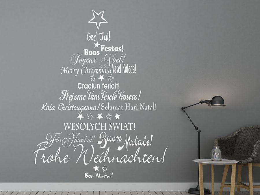 wandtattoo mehrsprachiger weihnachtsbaum von. Black Bedroom Furniture Sets. Home Design Ideas