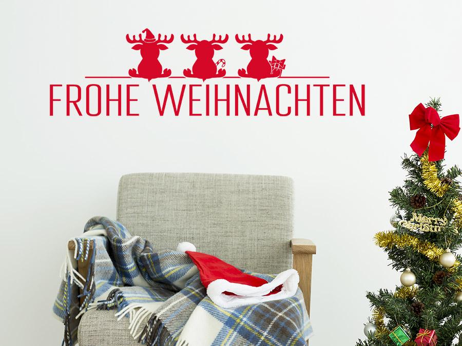 wandtattoo elche mit frohe weihnachten wandtattoo de. Black Bedroom Furniture Sets. Home Design Ideas