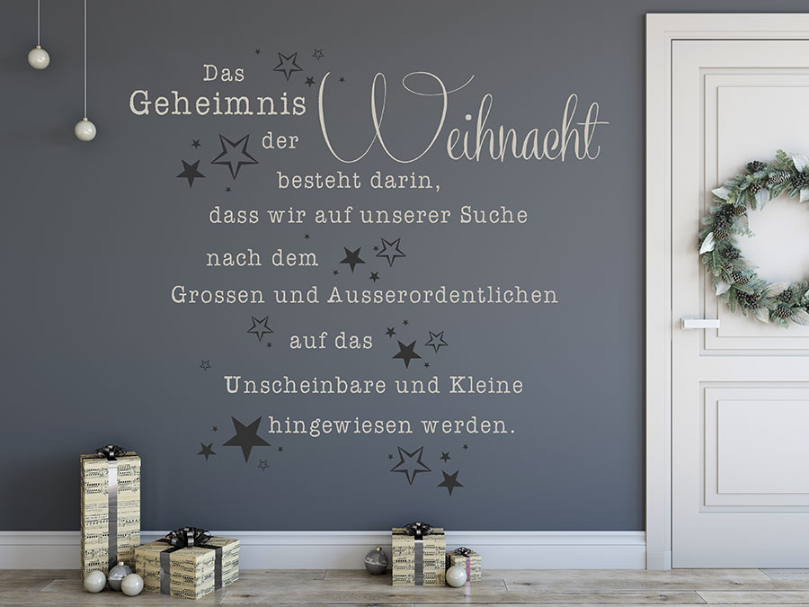 wandtattoo das geheimnis der weihnacht spruch. Black Bedroom Furniture Sets. Home Design Ideas