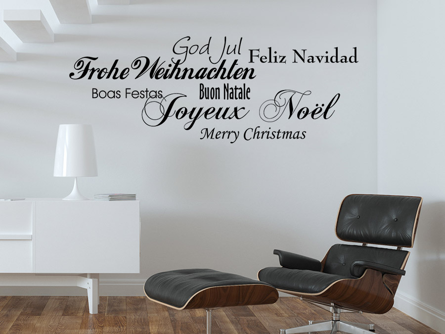 wandtattoo frohe weihnachten in 7 sprachen von. Black Bedroom Furniture Sets. Home Design Ideas