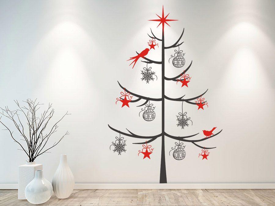 wandtattoo schlichter weihnachtsbaum mit schmuck wandtattoo de. Black Bedroom Furniture Sets. Home Design Ideas
