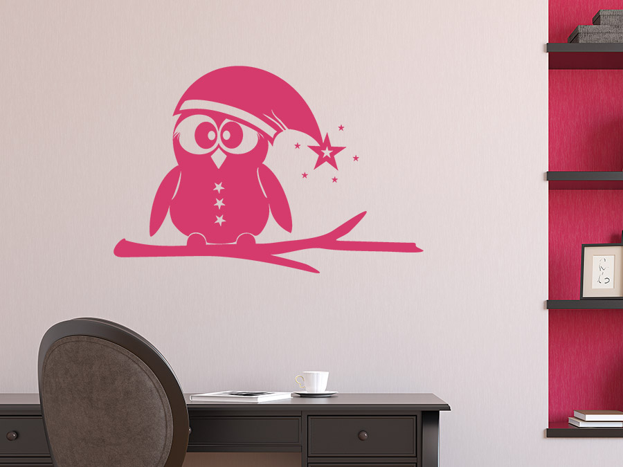 wandtattoo eule mit weihnachtsm tze wandtattoo de. Black Bedroom Furniture Sets. Home Design Ideas