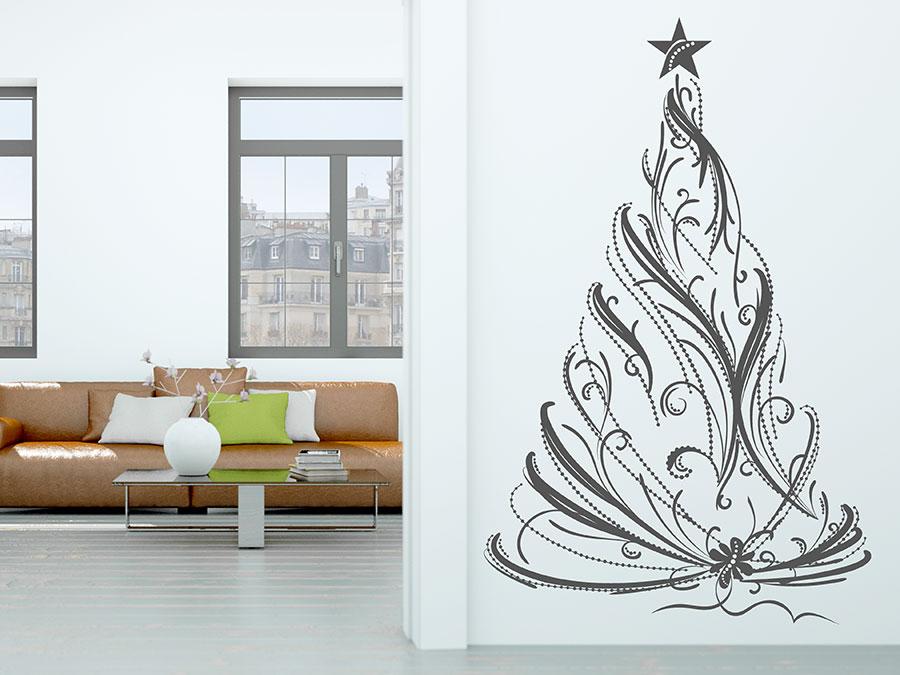 wandtattoo festlicher christbaum aus b ndern wandtattoo de. Black Bedroom Furniture Sets. Home Design Ideas