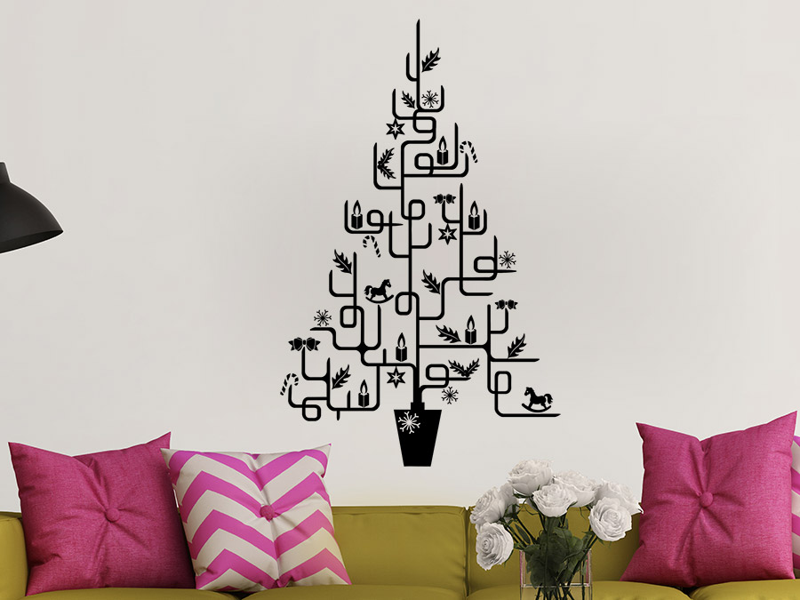 wandtattoo weihnachtsbaum f r puristen wandtattoo de. Black Bedroom Furniture Sets. Home Design Ideas