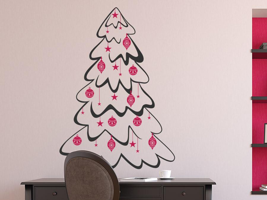 wandtattoo tannenbaum mit kugeln und sternen von. Black Bedroom Furniture Sets. Home Design Ideas