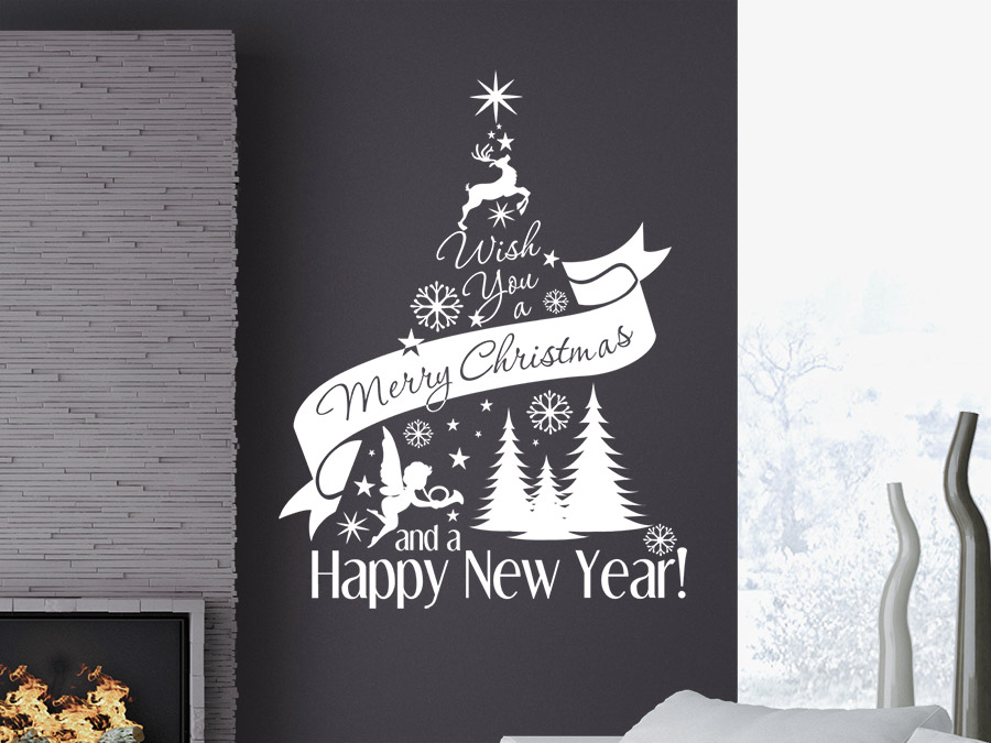 wandtattoo weihnachtsbaum merry christmas wandtattoo de. Black Bedroom Furniture Sets. Home Design Ideas