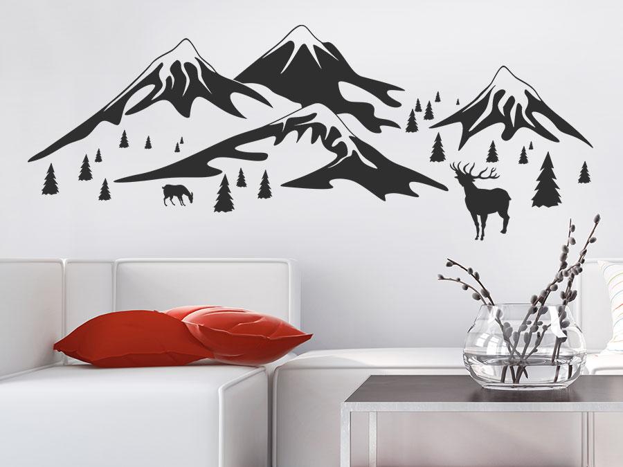 wandtattoo in den bergen gebirgslandschaft wandtattoo de. Black Bedroom Furniture Sets. Home Design Ideas