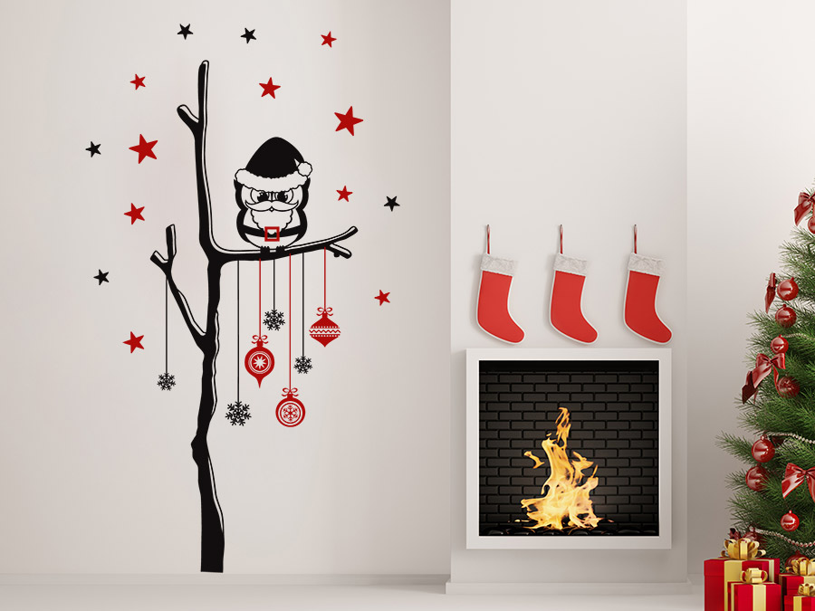 wandtattoo weihnachtlicher baum mit eule wandtattoo de. Black Bedroom Furniture Sets. Home Design Ideas
