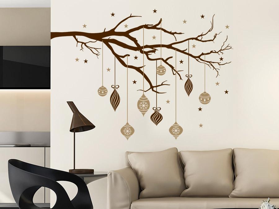 wandtattoo ast mit weihnachtskugeln wandtattoo de. Black Bedroom Furniture Sets. Home Design Ideas