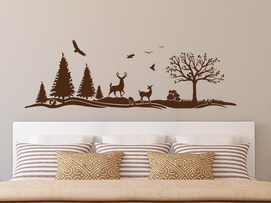 wandtattoo waldlandschaft mit reh und hirsch wandtattoo de. Black Bedroom Furniture Sets. Home Design Ideas