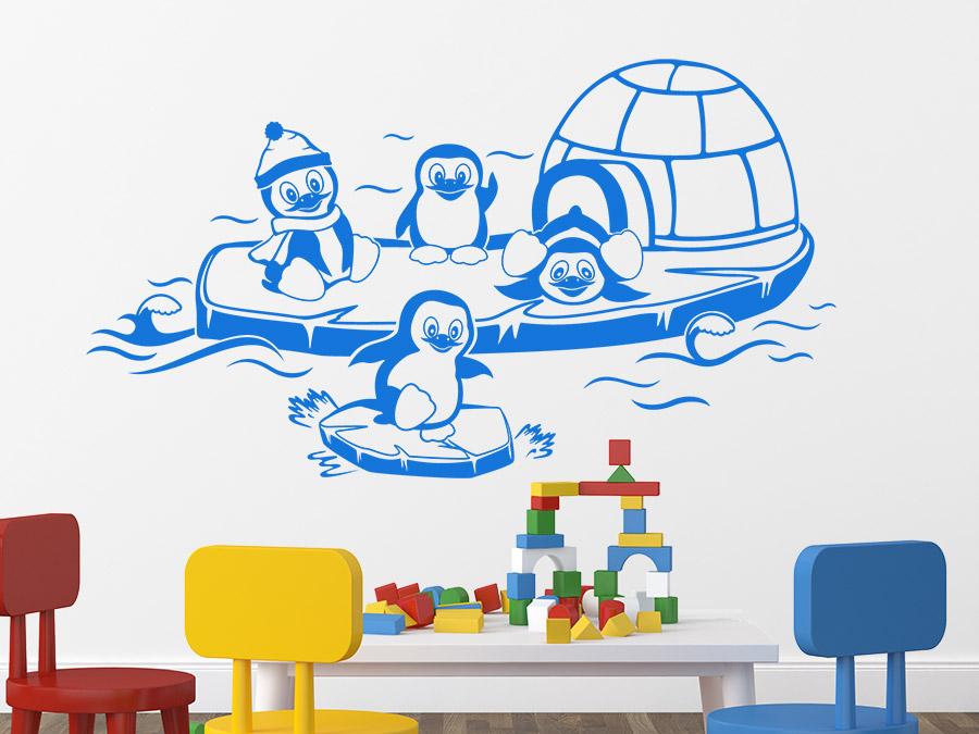 wandtattoo lustige pinguine auf dem eis wandtattoo de. Black Bedroom Furniture Sets. Home Design Ideas