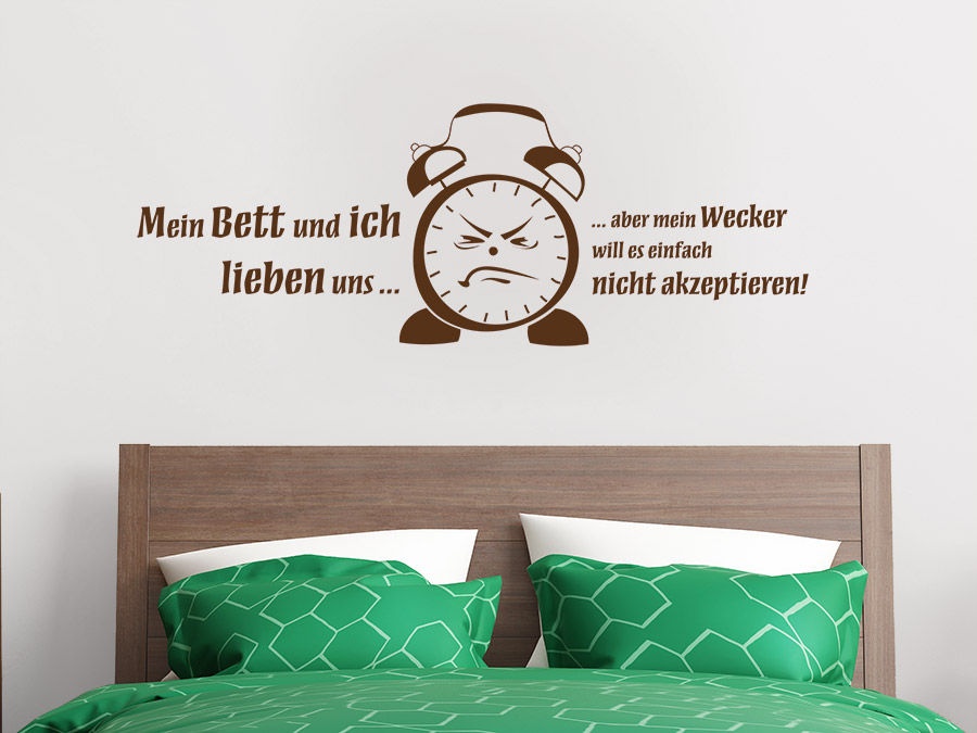 wandtattoo wecker spruch von. Black Bedroom Furniture Sets. Home Design Ideas