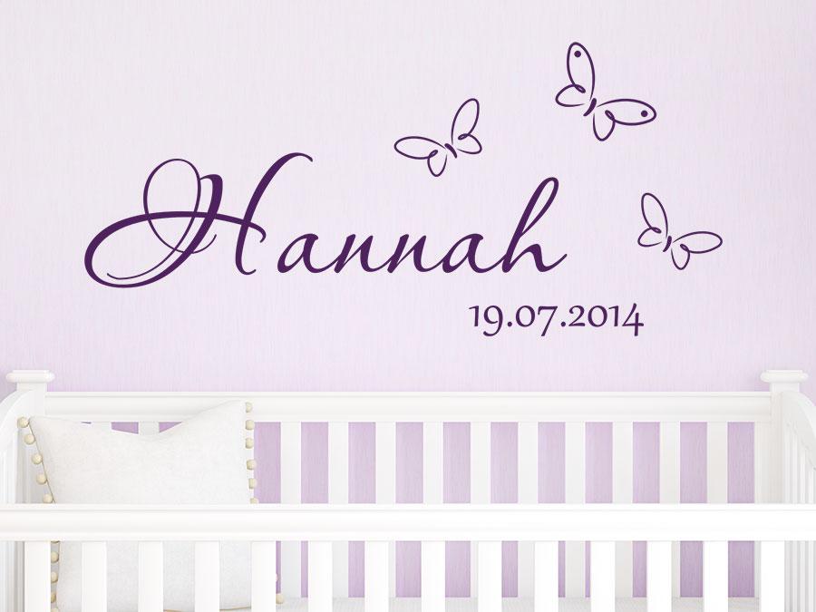 Wandtattoo Wunschname mit Datum Baby | WANDTATTOO.DE