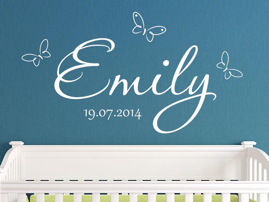 Wandtattoo Baby Name mit Schmetterlingen und Datum | Wandtattoos.de