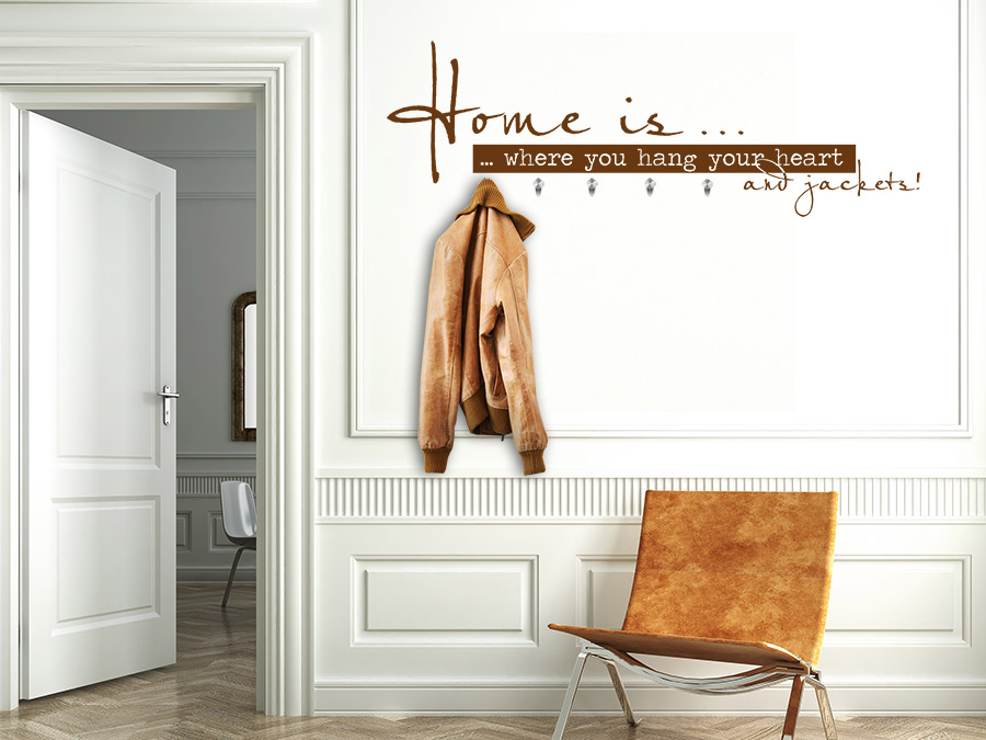 Wandtattoo garderobe home is where you wandtattoo de for Garderobe einbauschrank