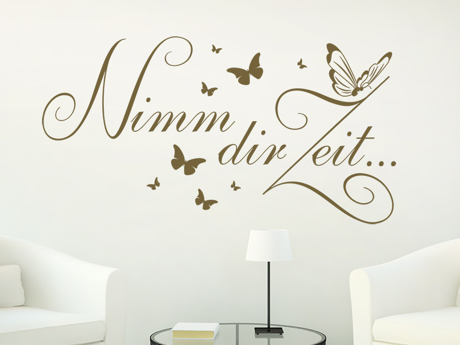 wandtattoo nimm dir zeit schmetterlinge wandtattoo de. Black Bedroom Furniture Sets. Home Design Ideas