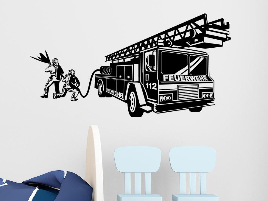 Wandtattoo Feuerwehr Auto und Feuerwehrmänner | WANDTATTOO.DE