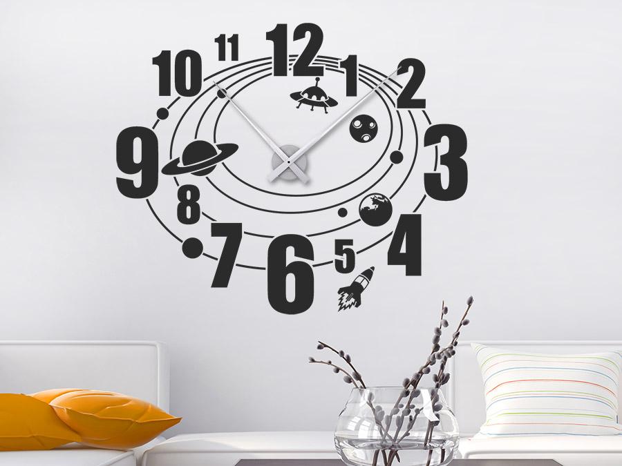 Wandtattoo Weltraum Uhr