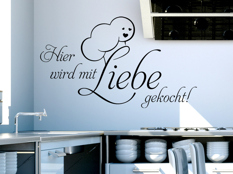 wandtattoo hier wird mit liebe gekocht spruch von. Black Bedroom Furniture Sets. Home Design Ideas