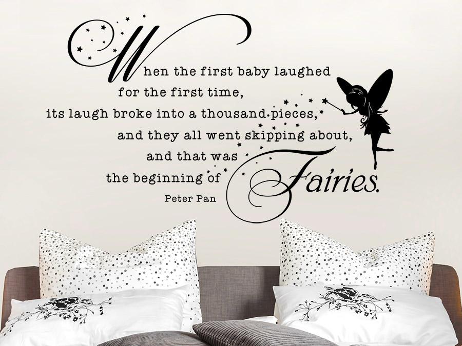 peter pan wandtattoo the beginning of fairies zitat von. Black Bedroom Furniture Sets. Home Design Ideas