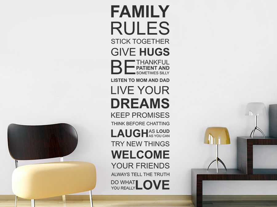 Wandtattoo family rules spruchband familienregeln - Wandtattoo family ...