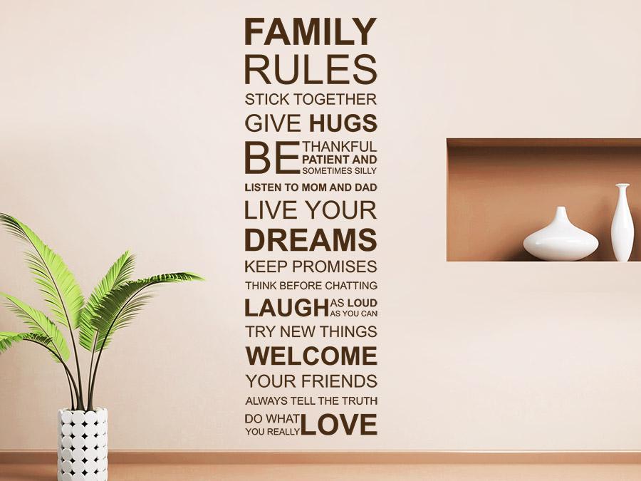 wandtattoo family rules spruchband familienregeln. Black Bedroom Furniture Sets. Home Design Ideas