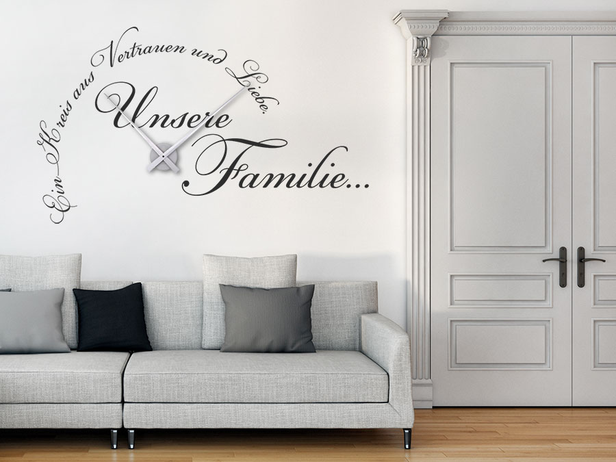 wandtattoo uhr unsere familie bei. Black Bedroom Furniture Sets. Home Design Ideas