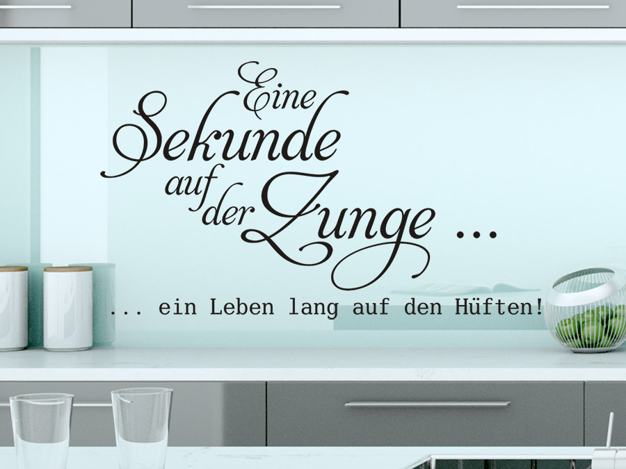 wandtattoo eine sekunde auf der zunge spruch von. Black Bedroom Furniture Sets. Home Design Ideas