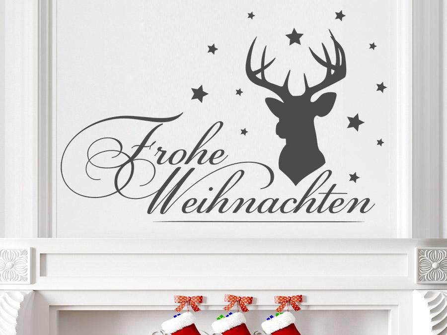 Wandtattoo frohe weihnachten mit hirsch von for Weihnachten wohnzimmer