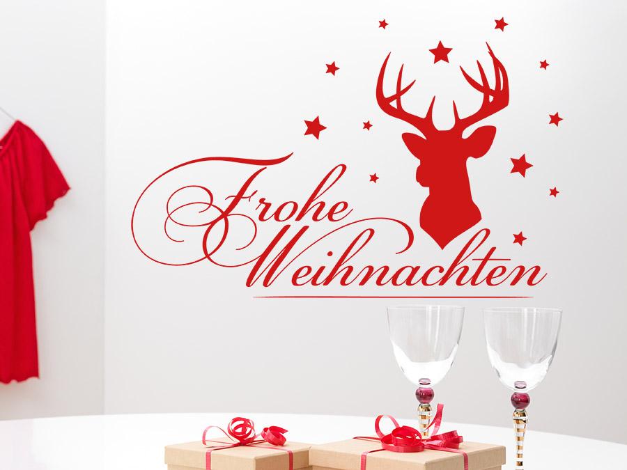 wandtattoo frohe weihnachten mit hirsch wandtattoo de. Black Bedroom Furniture Sets. Home Design Ideas