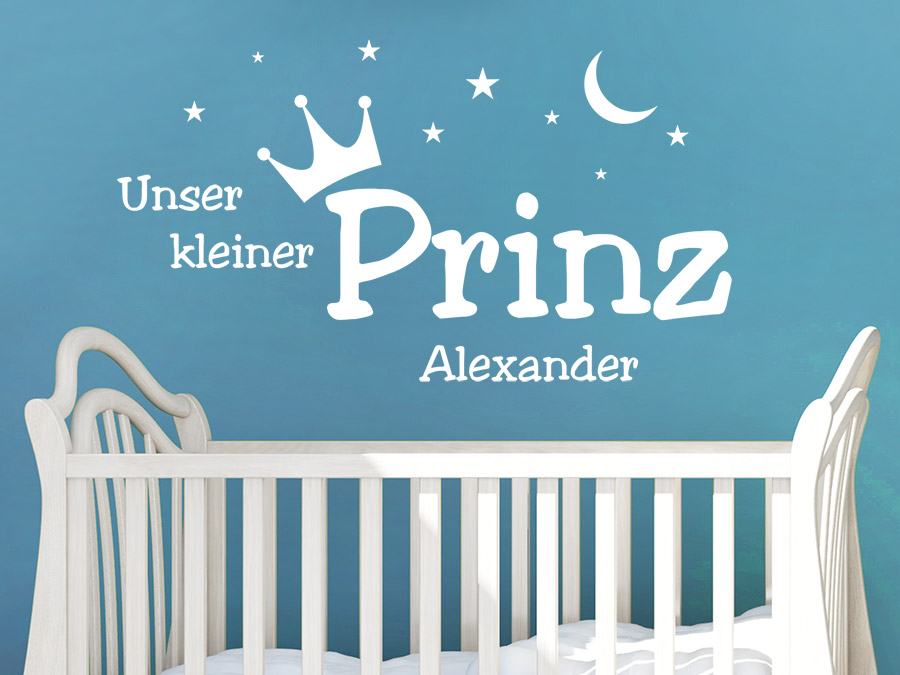 wandtattoo kleiner prinz mit name wandtattoo de. Black Bedroom Furniture Sets. Home Design Ideas